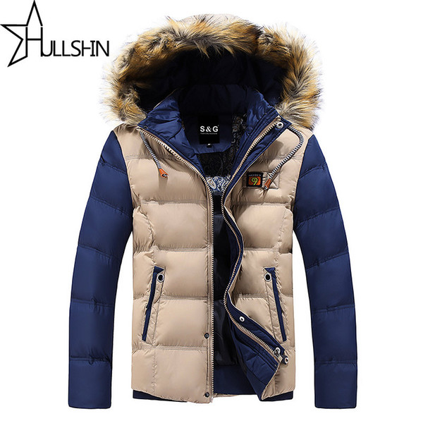 Wholesale- 2016 Thick Warm Winter Jacket for Men Waterproof Fur Collar Parkas Hooded Furry collar Coat high quality Western style WQ8867