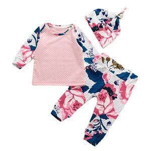 2016 INS Spring And Autumn Baby Christmas Clothes Baby Three Piece Baby Long Sleeve Elk T-shirt +Pants +Hat Sets