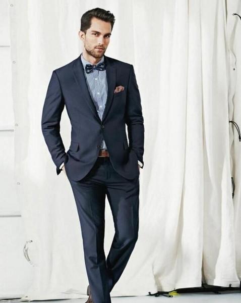 Navy Blue Men Tuxedos Notched Lapel Wedding Suits For Men Formal Men Suits Slim Fit 2 Pieces Wedding Suits (Jacket+Pants)