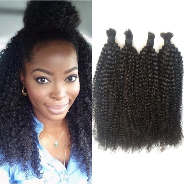 Cheveux Humains en Vrac Malaisien Pas d'Attachement Afro Kinky Cheveux En Vrac Bouclés pour Tresser 4 Bundles FDSHINE