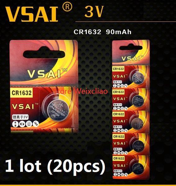 20pcs 1 lot CR1632 3V lithium li ion Button Cell Battery CR 1632 3 Volt li-ion coin batteries VSAI Free Shipping