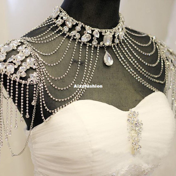 2017 Vintage De Luxe Bijoux De Mariage Long Cristal Perlé Collier Chaînes De Mariée D'épaule Strap Bijoux Nouvelle Chaîne Accessoires Pour Les Femmes