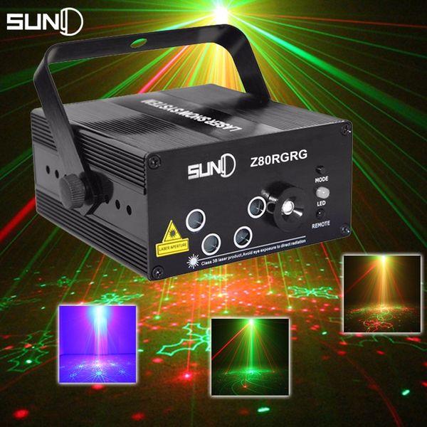 SUNY LED Laser Stage Lighting 5 Lens 80 Patterns RG Mini Led Laser Projector 3W Blue Light Effect Show For DJ Disco Party Lights + Remote