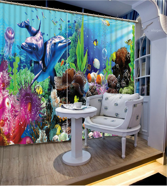 High Quality Costom Modern Home Decor Living Room Natural Art ocean dolphin custom curtain