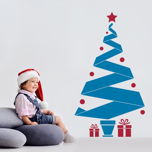 Christmas Stickers Window Tree Gift Art Vinyl Wallpaper Wall Sticker Decal Mural Bedroom Window Home Decoration 58x123cm
