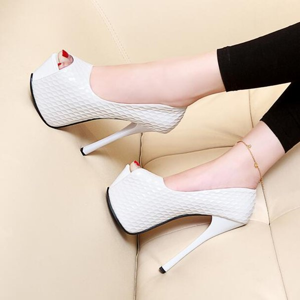 hehe2016 / 2016 summer new fish head shoes night high-heeled sexy women's singles Korean version of the serpentine waterproof table sandals 14cm