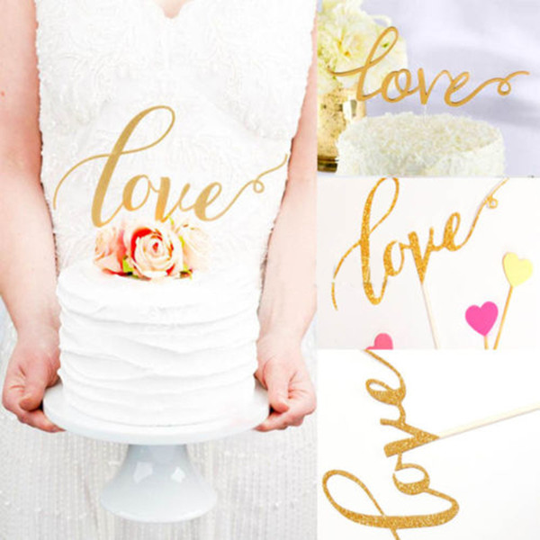 Wholesale-New Fashion LOVE Cake Topper Sparkle Glitter Gold Sliver Love Cupcake Topper For Wedding Decorating Engagement Party Cake Decor