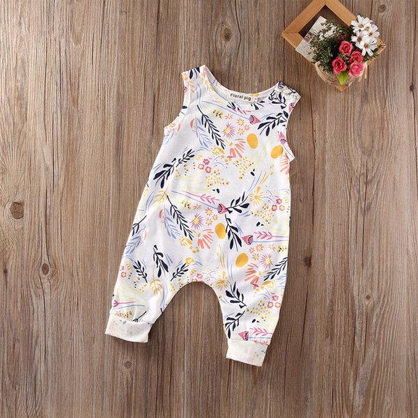 best selling Summer Toddler Baby Clothes Girl Floral Jumpsuit Sleevelss Trousers Pant Cotton Flower Print Sunsuit Kids Outfit Bodysuit 0-24M Kid Clothing