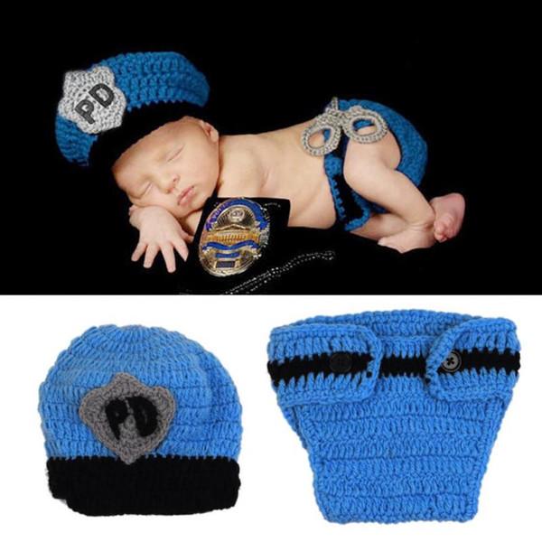 Bébé garçon tenues populaires Crochet nouveau-né photographie tenues bébé police tenue chapeau tricoté accessoires photo infantile costume garçons vêtements ensembles