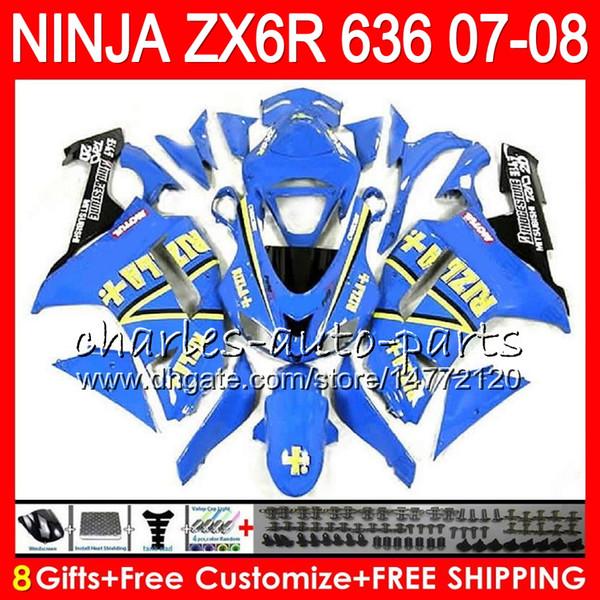 Bodywork For KAWASAKI RIZLA blue NINJA ZX636 ZX6R 07 08 600CC ZX600 C 26NO32 ZX 600 ZX 636 ZX 6R 07 08 ZX-636 ZX-6R 2007 2008 Fairing kit