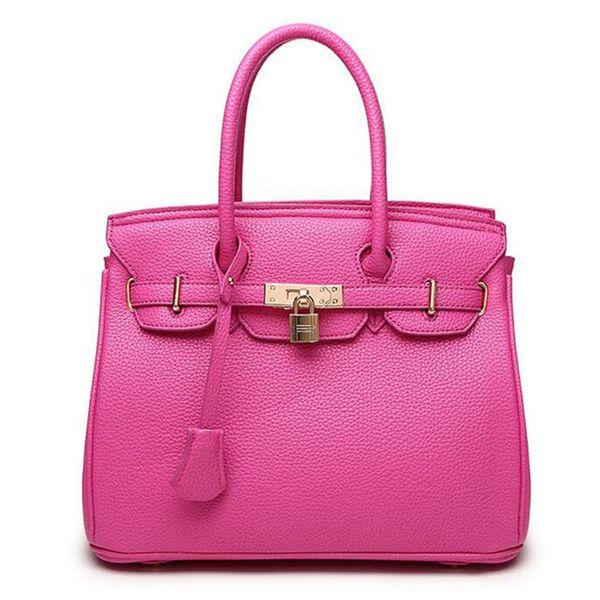 Wholesale- New Original Fashion Orange Top High Quality Luxury Lock Designer Handbags Famous Brand Real Women Bag Evening Bags Totes FR028