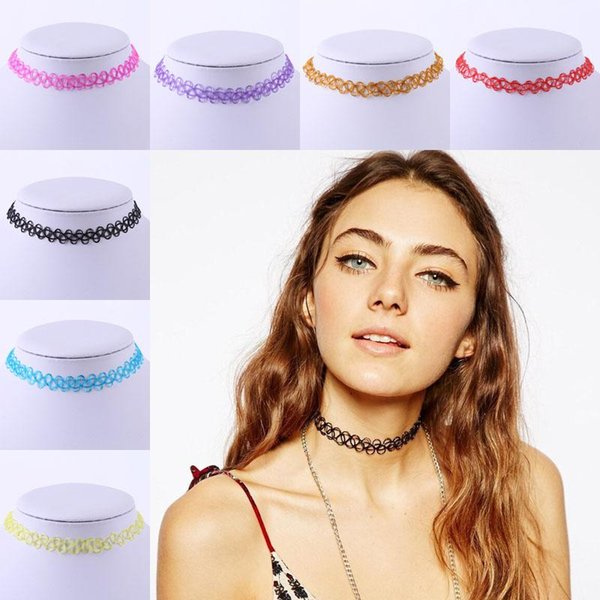 best selling Wholesale New Fashion Street Style Sexy Women Retro Tattoo Choker Stretch Necklace Woman Vintage Elastic Punk Necklaces Jewelry Gift
