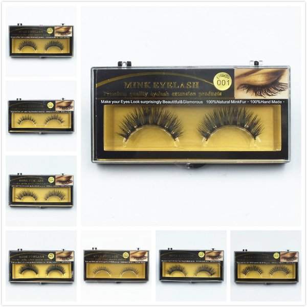 Premium Quality False Eyelashes Handmade Natural Long Thick Mink Eyelashes Soft Fake Eye Lash extensions Black Terrier Full Strip 50pcs