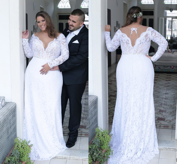 top popular Beautiful Sexy Deep V neck White Lace Plus Size Wedding Dress Long Sleeves Unique Back Sheath Plus Size Dress For Bride 2019 ADPW004 2019