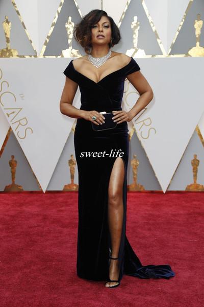 Best Dressed Oscars 2020.Oscars 2020 Red Carpet Party Gowns Off Shoulder Black Off Shoulder Side Split Cap Sleeve Women Celebrity Evening Dresses Formal Gowns Gold Dresses