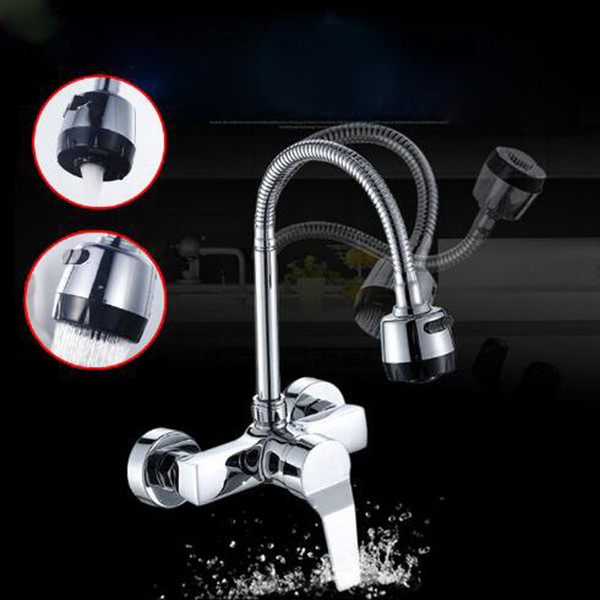 2019 Dual Style Outlet Water Spray Kitchen Bathroom Basin Faucet Wall  Mounted Chrome Flexible Hose Kitchen Mixer Taps Dual Holes From  Gonglangno1, ...