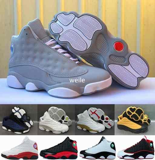 High Quality 13 Olive Army Green Men Basketball Shoes,Mens 13s DMP Black Cat Wheat Navy blue Chutney Basket ball Sports Sneakers 7-13