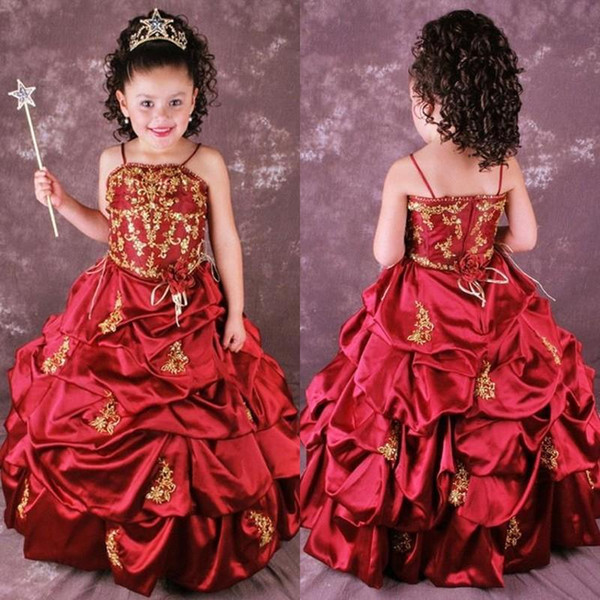 Cute Red A Line Embroidery Flower Girls Dresses Ruffles Pick Up Full Length Appliques Wedding Party Girls Pageant Gowns BO8996