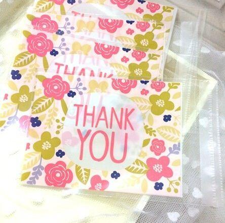 Small flower package plastic bag THANK YOU decoration plastic self adhesive bags cookie candy dessert gift packing favors