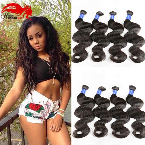 Hannah prodotto Top Quality Micro mini intrecciare i capelli Bulk Nessun attacco peruviano Body Wave 3pcs Bulk capelli umani Acquista