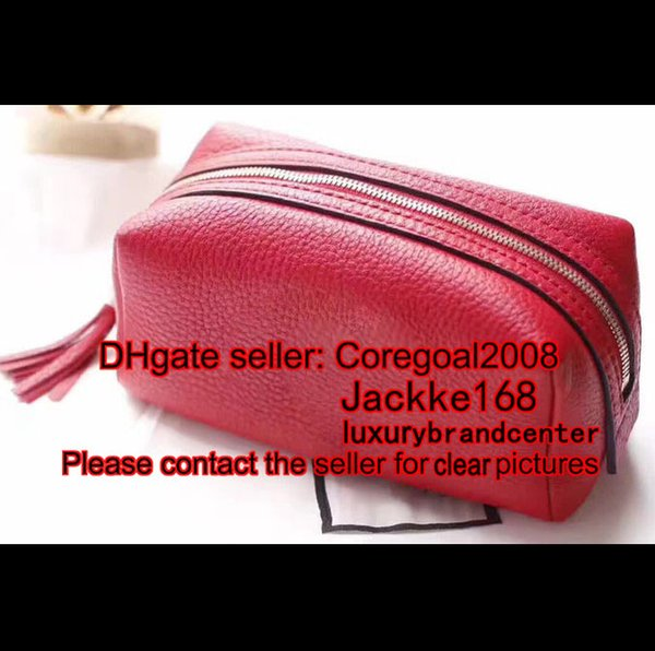 Gold red black pink G 308636 many colors womens wallet real genuine leather soho tassel small cosmetic makeup bag case clutch handbag luxury