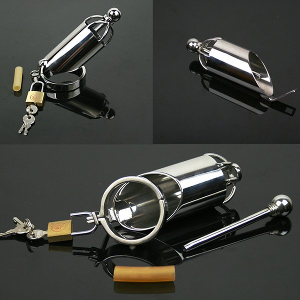 304 Stainless Steel Male Chastity Device with Catheter Cock Cage Virginity Lock Penis Ring Penis Lock Adult Game Cock Ring A067