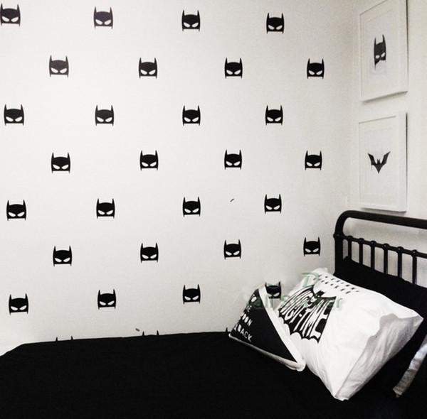 24pcs/set Super Hero Batman Mask Wall Stickers Baby Nursery Children Bedroom Removable Wall Decals Home Décor DIY Vinyl Decal