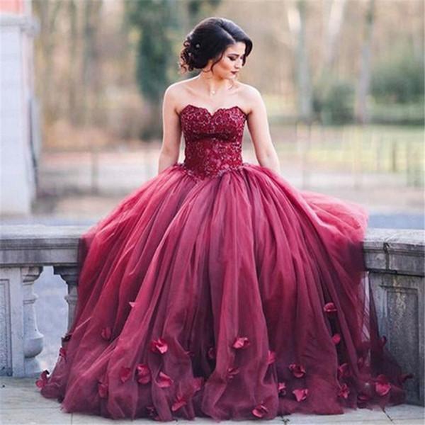 Burgundy Wedding Dresses 2017 Vestidos De Bodas Baratos Princess ...