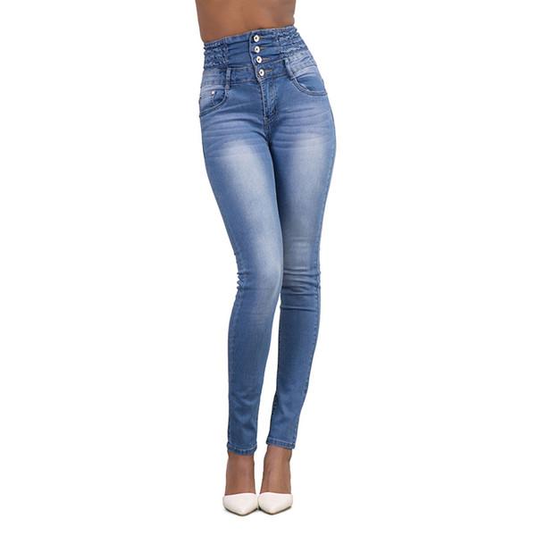 Wholesale- Fashion Women Ladies 4 Button Jeans Sexy High Waist Slim Skinny Jeans Stretch Pencil Denim Pants S-XXL #226375
