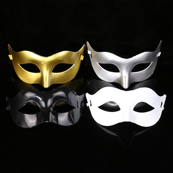 Máscara de disfraces masculinos Disfraces Máscaras venecianas Máscaras de disfraces Máscara de plástico media cara Multicolor opcional (Negro, Blanco, Oro, Plata)