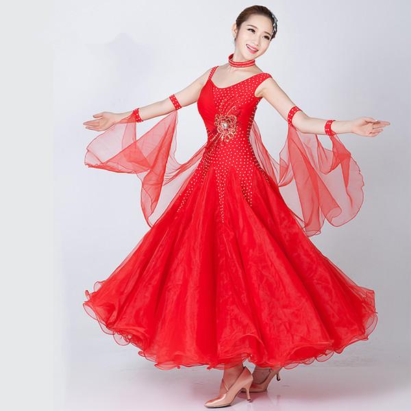 4Color Red White Adult / Ballroom Dance Dress Modern Modern Waltz Standard Dance Dress Dress Sexy abito strass senza maniche in strass