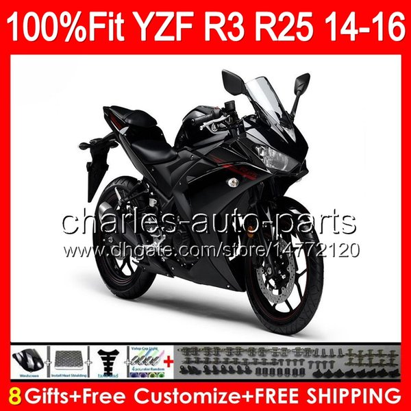 Gloss Black 8gifts Injection For Yamaha Yzf R3 R25 14 15 16 Yzf R3 Yzf R25 97no27 R 3 Yzfr3 Yzfr25 R25 R3 2014 2015 2016 Gloss Black Fairing Best