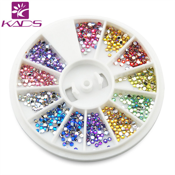 Wholesale- KADS Arrvial 1.5MM AB Color 600pcs 12 Colors Nail Art rhinestones Decoration For UV Gel Acrylic Systems+Freeship