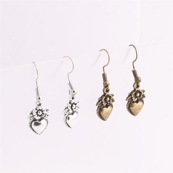 12pcs/lot Metal Alloy Zinc Love Heart Pendant Flower Heart Charm Drop Earing Pendant Diy Jewelry Making C0662