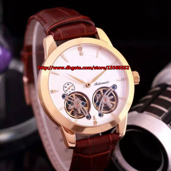 European and American fashion luxury business accurate perfect imported automatic double Tourbillon through the back belt men's Watch