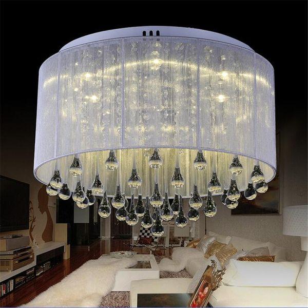 Moderne mode stoff deckenleuchte kronleuchter licht kristall silber pendelleuchte kristall deckenleuchte wohnzimmer schlafzimmer
