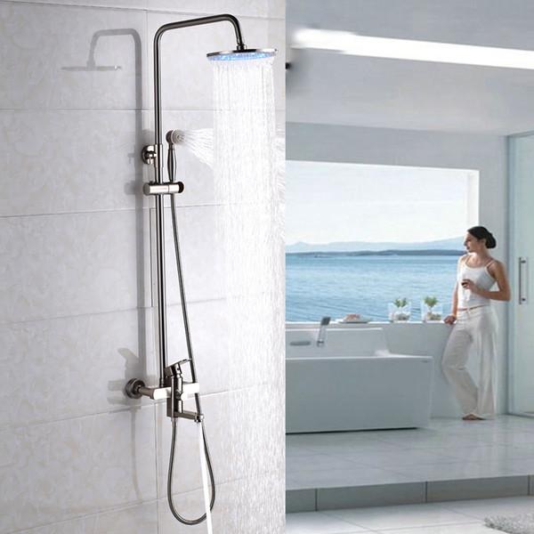 12 '' LED Nickel gebürstet Dusche Wasserhahn Badewanne Handbrause Mischbatterie Wandhalterung Ein Griff Modern