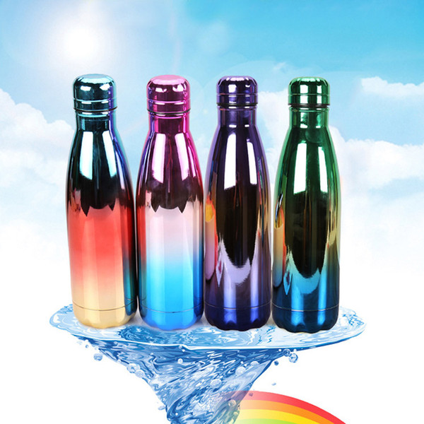 Cola Shape Bottle Vacuum Insulated Water Bottles Colorfully Plating Double Walled Stainless Steel Bottle Mugs Coke Bottle