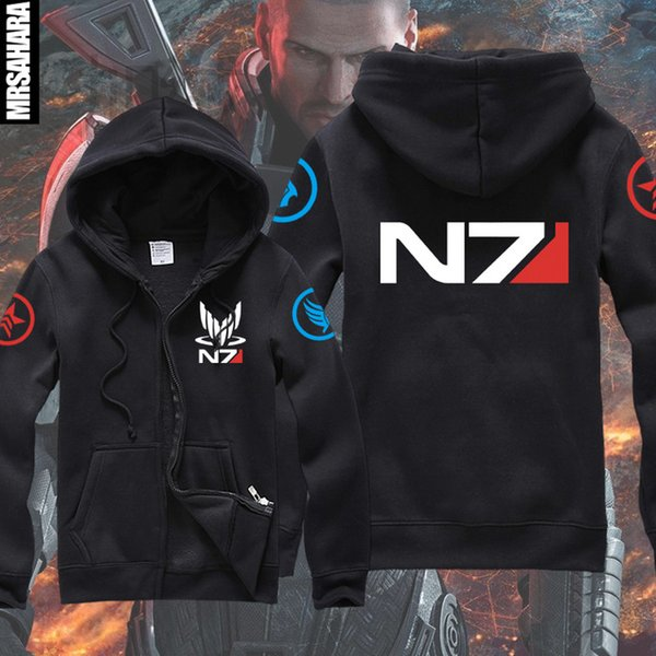 Wholesale-NEW Mass Effect 3 N7 Paragon inspired man's gamer Zip-Up Hoodie game team zipper hoody warm & cozy outwear casual quick shipping