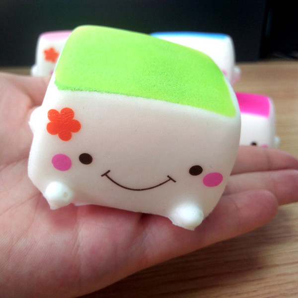 6PCS New Tofu Slow Rising Squishy Soft Bean Curd Scented Squishies Charms Kids Toys Random toy soft hand pillow Chain Phone
