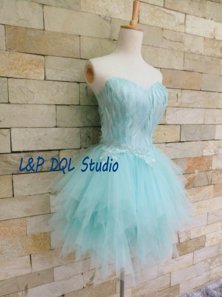 Fairy Light Blue Feathers Prom Dresses Knee-Length Pleats Tulle Party Gowns Real Pictures Formal Wear High Quality Red,Black