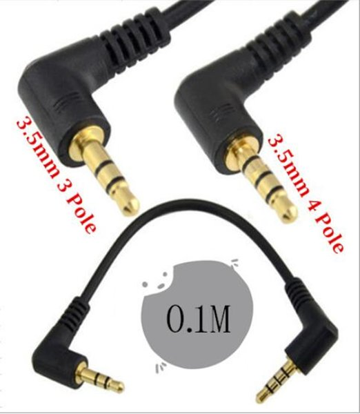 10cm DC3.5mm TRRS 4 pole male to 3 pole male 90 degree angled stereo audio Lead Extension cable