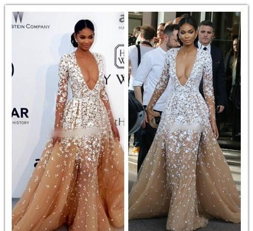best selling 2017 Red Carpet Dress Zuhair Murad Evening Dresses Sexy Deep V Neck Long Sleeve With Lace Applique Sweep Train Formal Celebrity Dress
