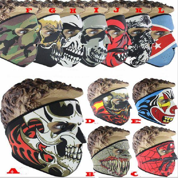 Neoprene Completa Crânio Máscara Facial Halloween party face máscara de Moto Bicicleta de Esqui Snowboard Sports Balaclava