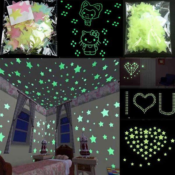 En gros pas cher Stickers Muraux Lueur Dans Le Sombre Bébé Enfants Chambre Chambre Décor À La Maison Couleur Étoiles Lumineux Fluorescent Stickers Muraux Decal