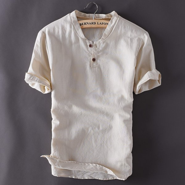 Summer Men's Pullover Linen Short Sleeves Shirts Breathable Mens Quality Casual Shirts Solid Cotton Shirts TS-150