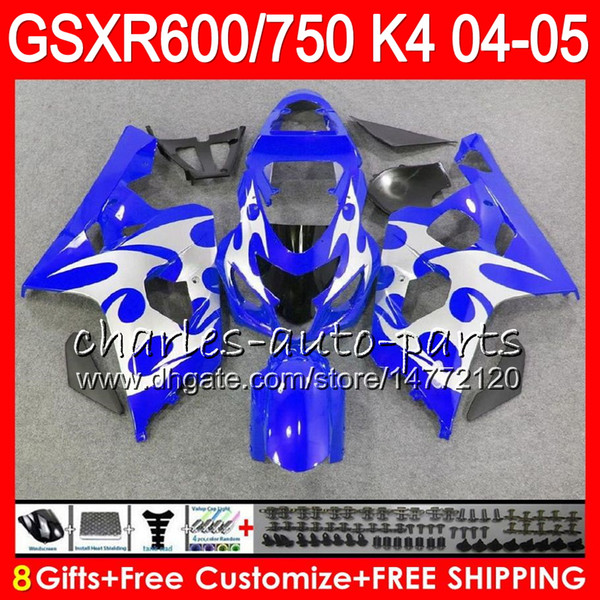 8 Gifts 23 Colors Body For SUZUKI GSX-R600 GSXR750 GSXR600 04 05 gloss blue 9HM59 GSX R600 R750 K4 GSX-R750 GSXR 600 750 2004 2005 Fairing