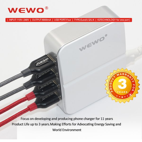 Wewo 4USB port cell phone chargers 6A output power bank portable Travelling chargers with retail packaging