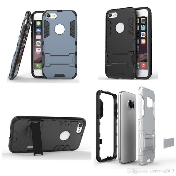 Iron Man Armor Shield Case Samsung s8 Case For samsung galaxy s7 edge iphone7 6s plus Luxury Stand Holder Protector Back Cover