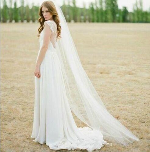 Ucuz Stok Gerçek Görüntü Beyaz Fildişi Basit Uzun Gelin Veils Yumuşak Tül Uzun Veils Düğün Olaylar için Tül Net Peçe
